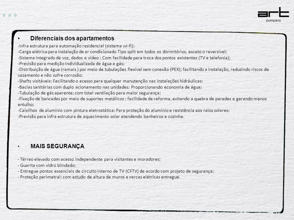 Diferenciais dos apartamentos -Infra estrutura para automação residencial (sistema wi-fi); -Carga elétrica para instalação de ar condicionado Tipo spl