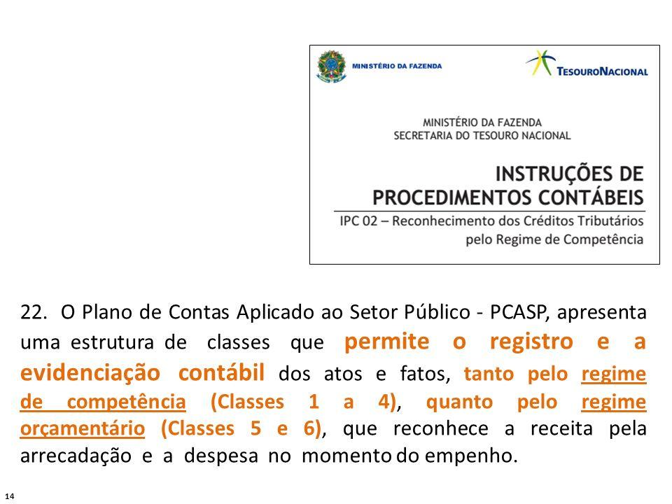 14 22. O Plano de Contas Aplicado ao Setor Público - PCASP, apresenta uma estrutura de classes que permite o registro e a evidenciação contábil dos at