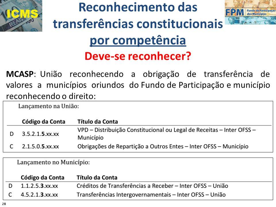 28 Reconhecimento das transferências constitucionais por competência Deve-se reconhecer? MCASP: União reconhecendo a obrigação de transferência de val