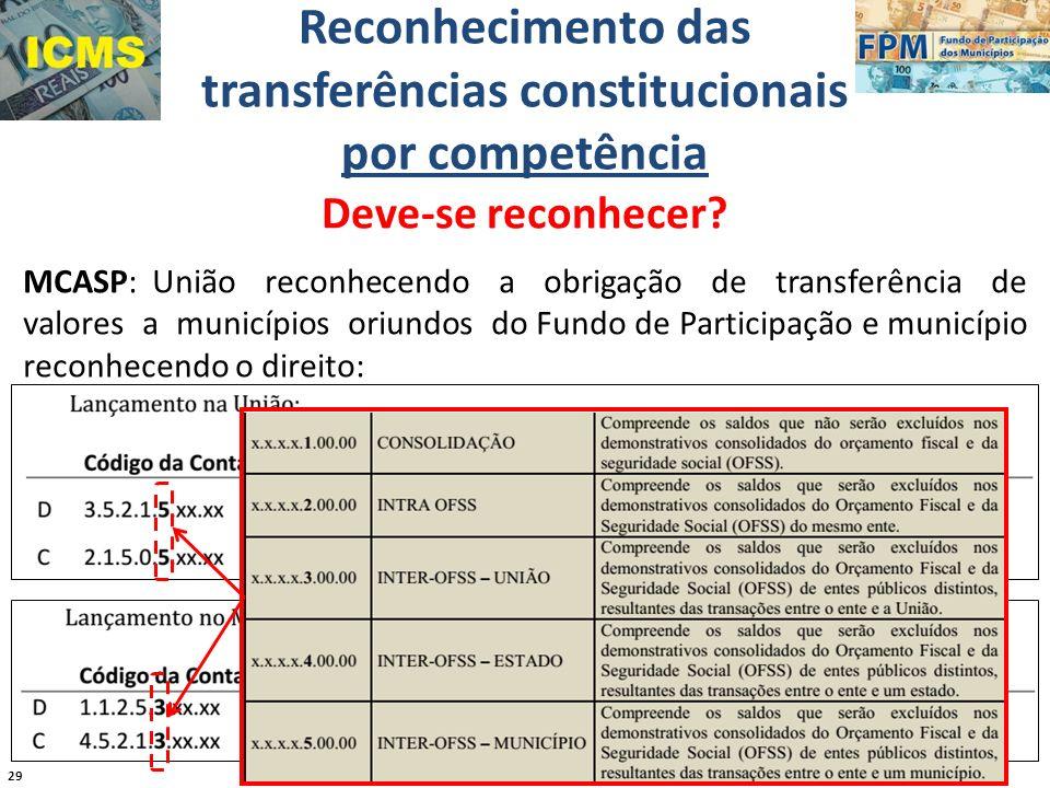 29 Reconhecimento das transferências constitucionais por competência Deve-se reconhecer? MCASP: União reconhecendo a obrigação de transferência de val
