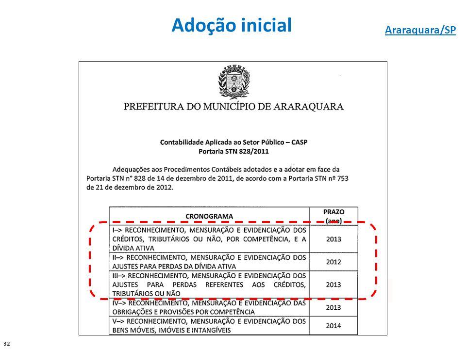 32 Adoção inicial - - Araraquara/SP