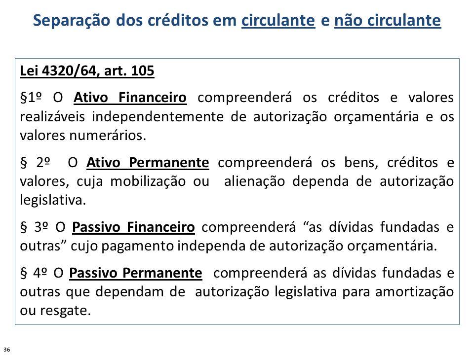 36 Separação dos créditos em circulante e não circulante Lei 4320/64, art. 105 §1º O Ativo Financeiro compreenderá os créditos e valores realizáveis i