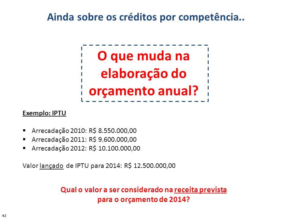 42 Ainda sobre os créditos por competência.. O que muda na elaboração do orçamento anual? Exemplo: IPTU Arrecadação 2010: R$ 8.550.000,00 Arrecadação