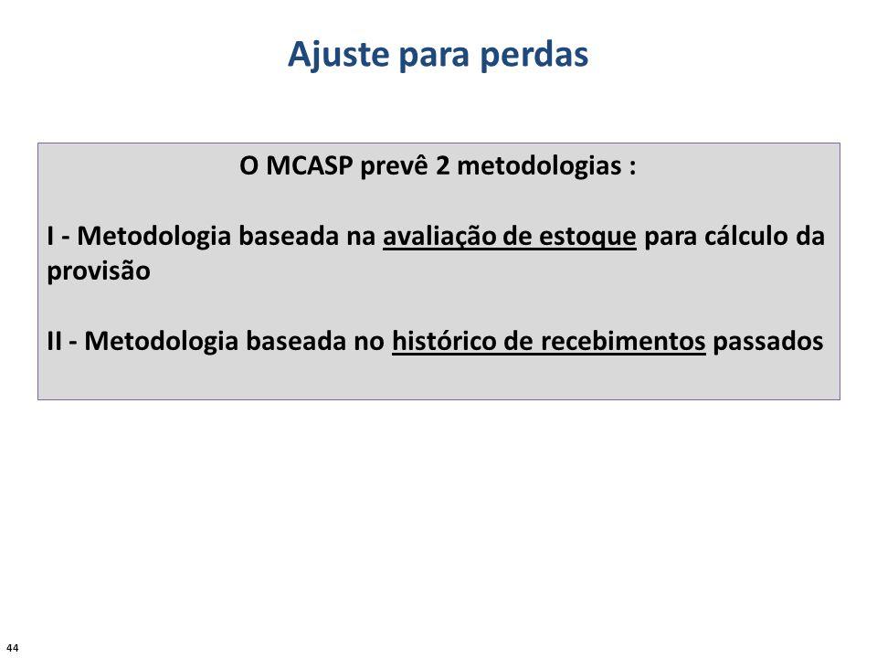 44 Ajuste para perdas O MCASP prevê 2 metodologias : I - Metodologia baseada na avaliação de estoque para cálculo da provisão II - Metodologia baseada