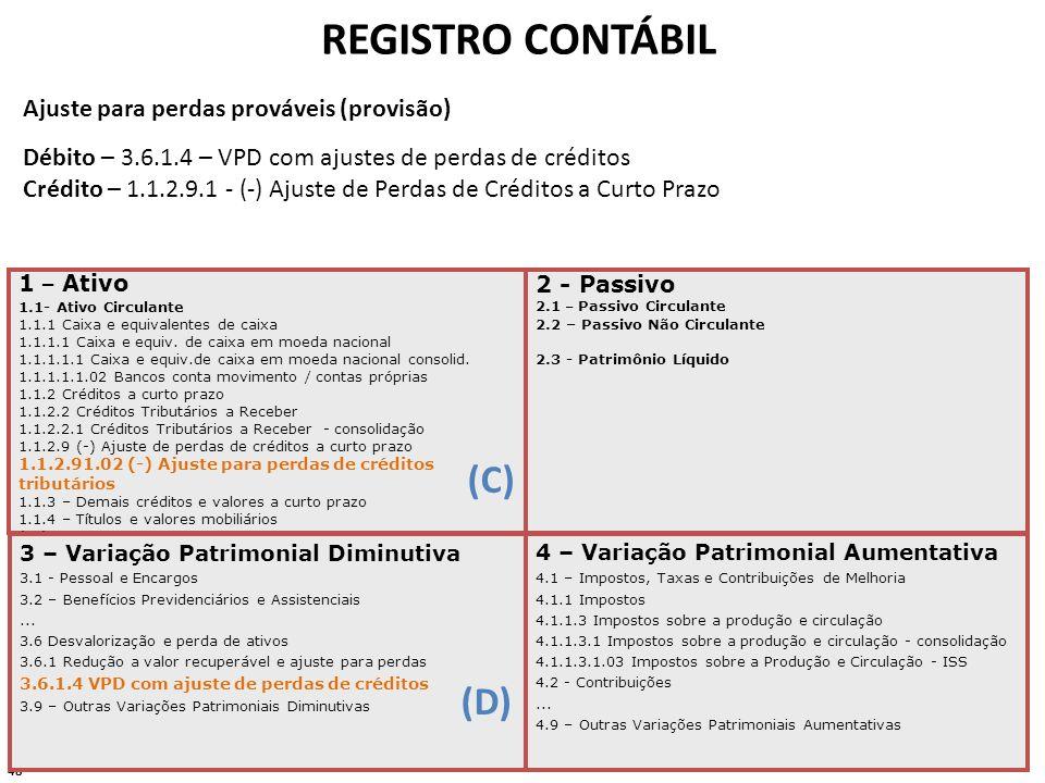 48 REGISTRO CONTÁBIL 1 – Ativo 1.1- Ativo Circulante 1.1.1 Caixa e equivalentes de caixa 1.1.1.1 Caixa e equiv. de caixa em moeda nacional 1.1.1.1.1 C