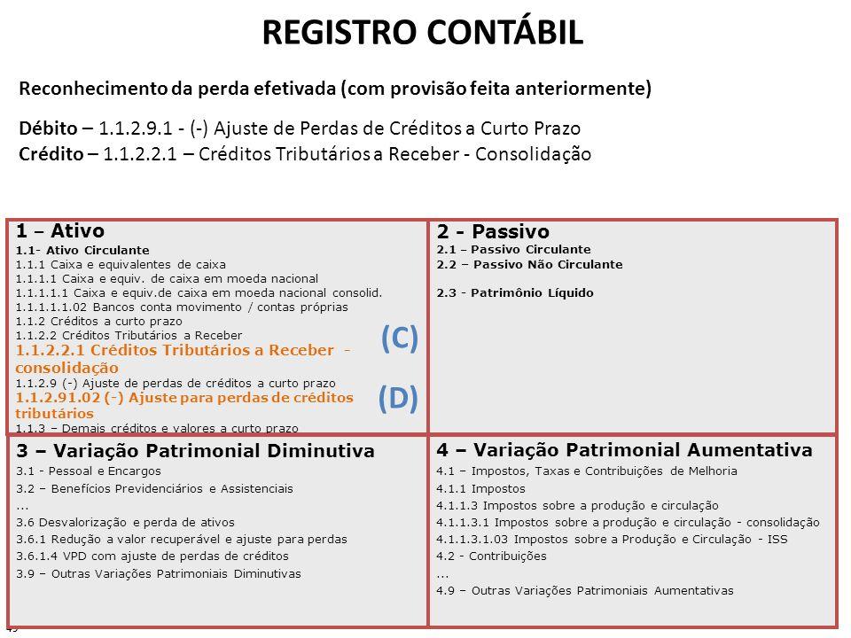 49 REGISTRO CONTÁBIL 1 – Ativo 1.1- Ativo Circulante 1.1.1 Caixa e equivalentes de caixa 1.1.1.1 Caixa e equiv. de caixa em moeda nacional 1.1.1.1.1 C