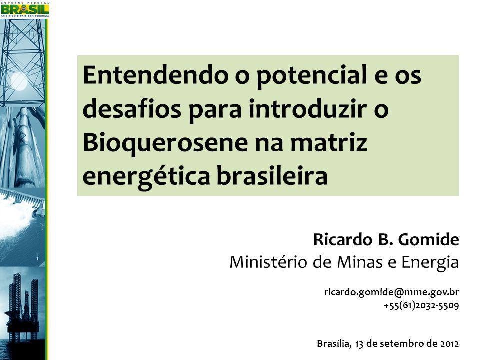 Entendendo o potencial e os desafios para introduzir o Bioquerosene na matriz energética brasileira Ricardo B. Gomide Ministério de Minas e Energia ri