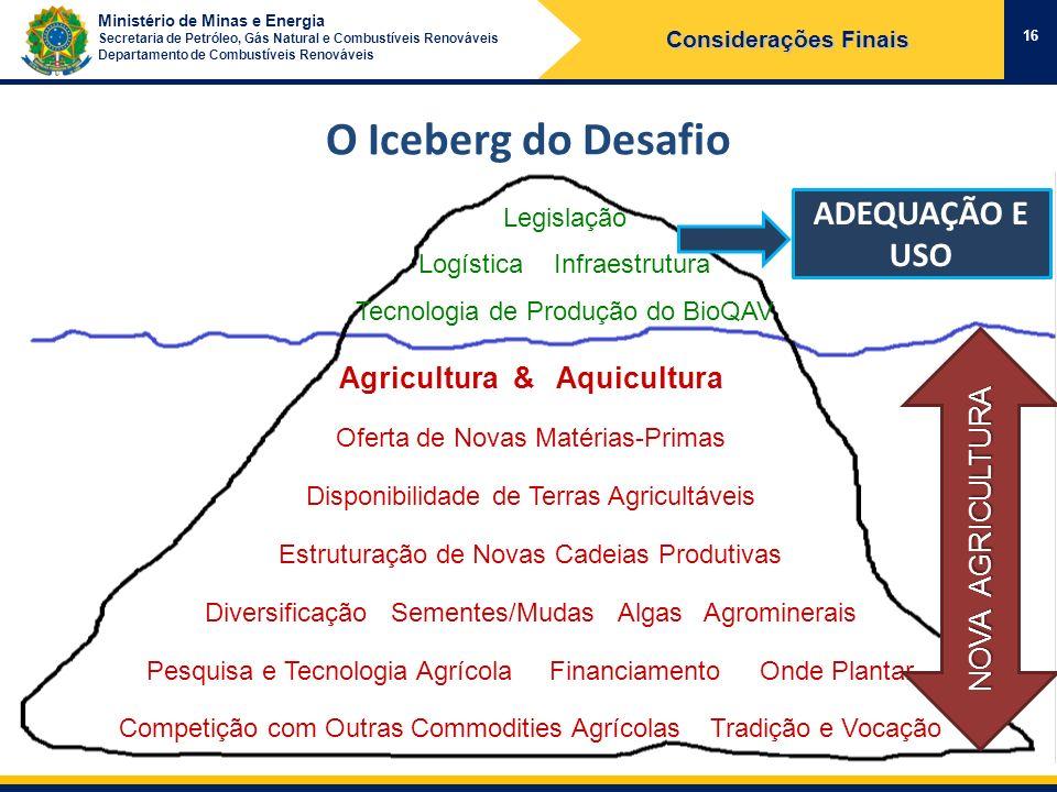 Ministério de Minas e Energia Secretaria de Petróleo, Gás Natural e Combustíveis Renováveis Departamento de Combustíveis Renováveis 16 Considerações F