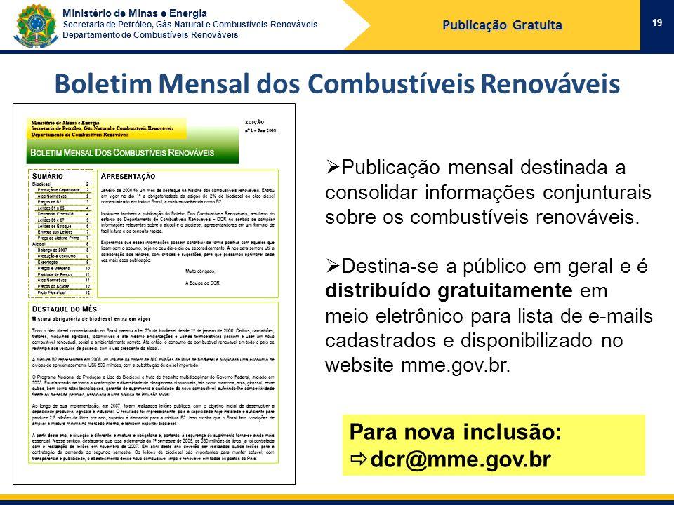 Ministério de Minas e Energia Secretaria de Petróleo, Gás Natural e Combustíveis Renováveis Departamento de Combustíveis Renováveis 19 Publicação Grat