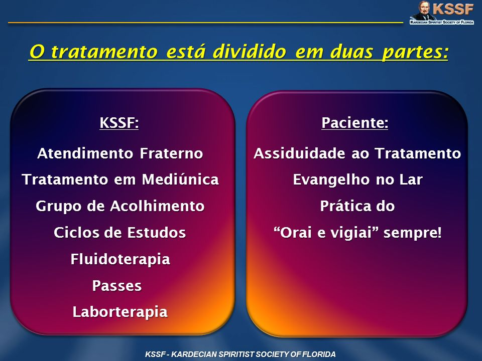 O tratamento está dividido em duas partes: Assiduidade ao Tratamento Evangelho no Lar Prática do Orai e vigiai sempre! Paciente: KSSF: Atendimento Fra