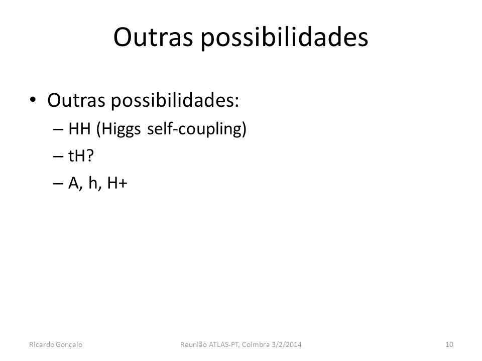 Outras possibilidades Outras possibilidades: – HH (Higgs self-coupling) – tH.
