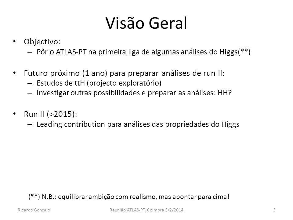 Visão Geral Objectivo: – Pôr o ATLAS-PT na primeira liga de algumas análises do Higgs(**) Futuro próximo (1 ano) para preparar análises de run II: – Estudos de ttH (projecto exploratório) – Investigar outras possibilidades e preparar as análises: HH.