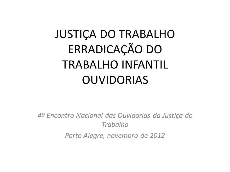 JUSTIÇA DO TRABALHO ERRADICAÇÃO DO TRABALHO INFANTIL OUVIDORIAS 4º Encontro Nacional das Ouvidorias da Justiça do Trabalho Porto Alegre, novembro de 2012