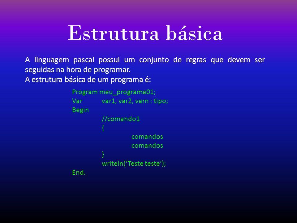 Estrutura básica A linguagem pascal possui um conjunto de regras que devem ser seguidas na hora de programar. A estrutura básica de um programa é: Pro