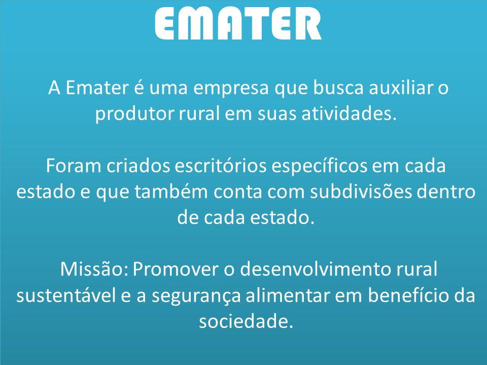 A Emater é uma empresa que busca auxiliar o produtor rural em suas atividades. Foram criados escritórios específicos em cada estado e que também conta