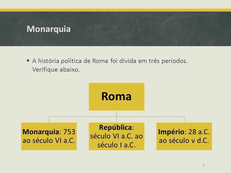Monarquia A história política de Roma foi divida em três períodos. Verifique abaixo. Roma Monarquia: 753 ao século VI a.C. República: século VI a.C. a