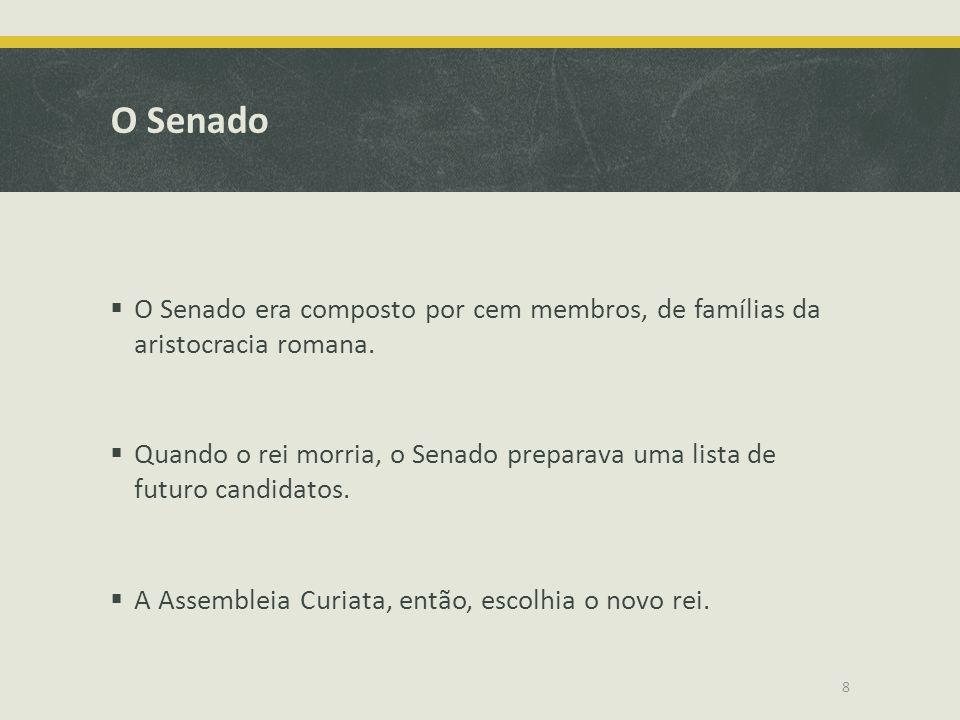 O Senado O Senado era composto por cem membros, de famílias da aristocracia romana. Quando o rei morria, o Senado preparava uma lista de futuro candid