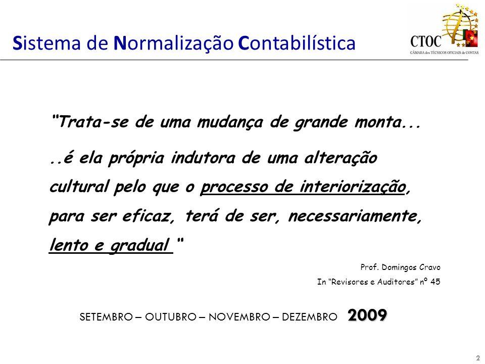 2 Sistema de Normalização Contabilística 2009 SETEMBRO – OUTUBRO – NOVEMBRO – DEZEMBRO 2009 Trata-se de uma mudança de grande monta.....é ela própria
