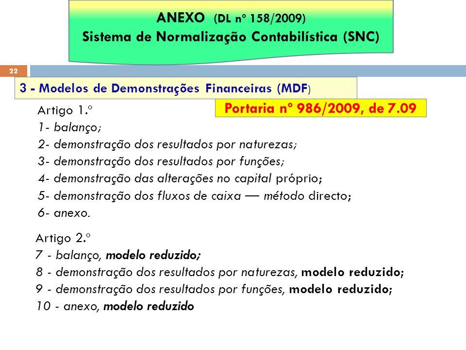 22 3 - Modelos de Demonstrações Financeiras (MDF ) ANEXO (DL nº 158/2009) Sistema de Normalização Contabilística (SNC) Portaria nº 986/2009, de 7.09 A