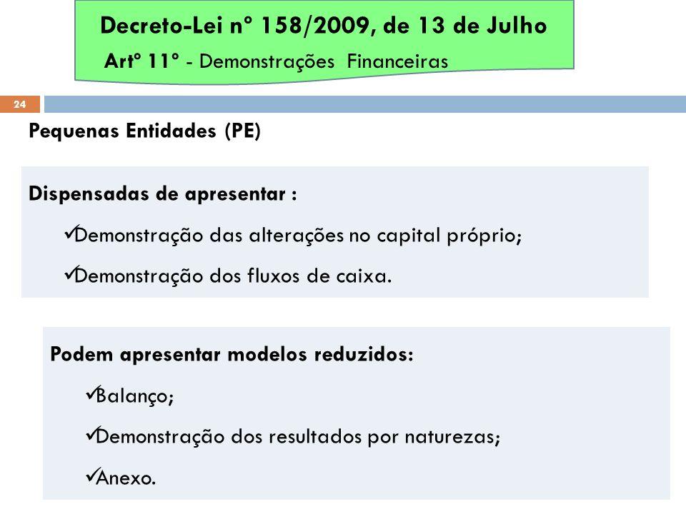 Pequenas Entidades (PE) 24 Dispensadas de apresentar : Demonstração das alterações no capital próprio; Demonstração dos fluxos de caixa. Decreto-Lei n
