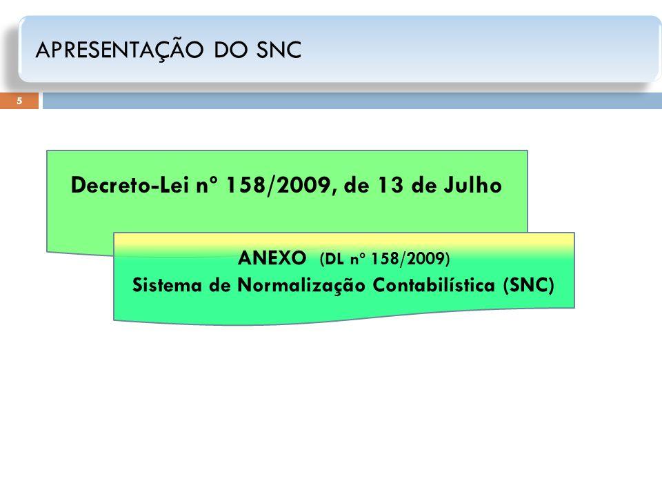 5 Decreto-Lei nº 158/2009, de 13 de Julho ANEXO (DL nº 158/2009) Sistema de Normalização Contabilística (SNC) APRESENTAÇÃO DO SNC