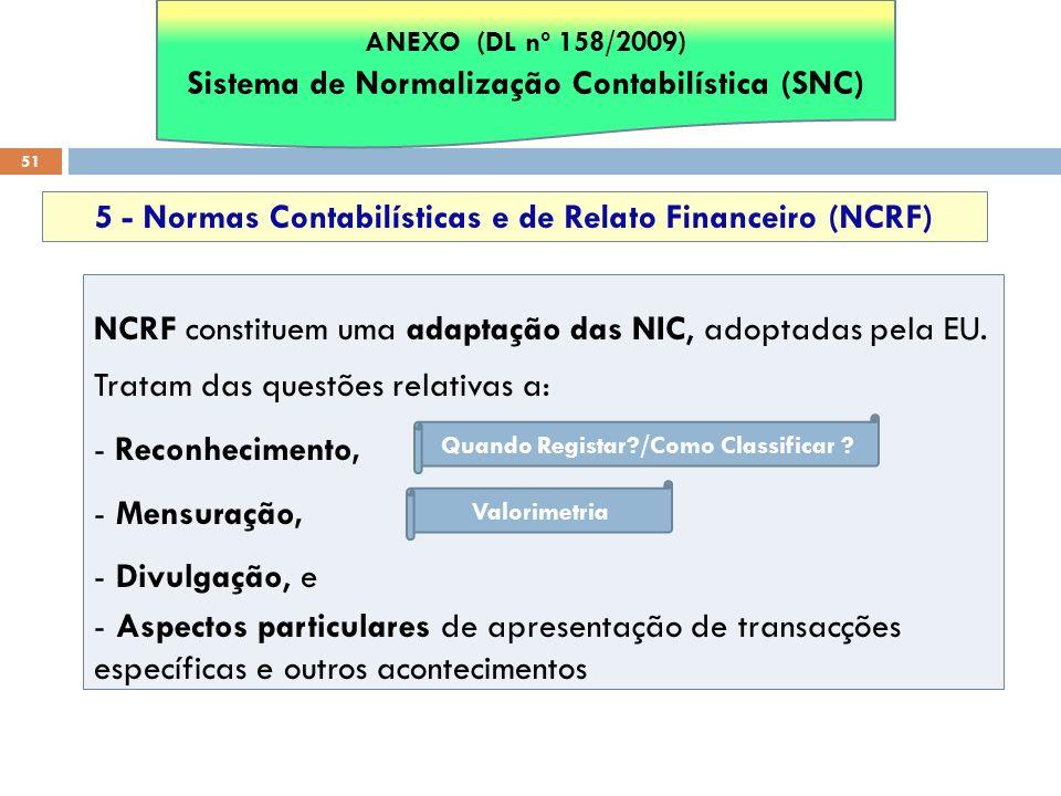 51 5 - Normas Contabilísticas e de Relato Financeiro (NCRF) NCRF constituem uma adaptação das NIC, adoptadas pela EU. Tratam das questões relativas a: