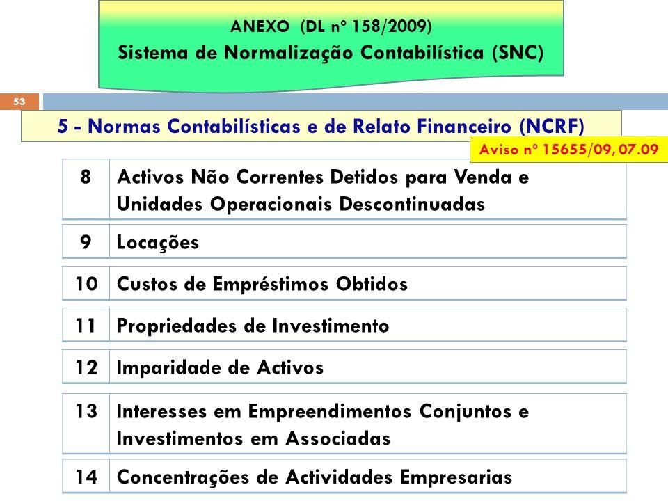 53 5 - Normas Contabilísticas e de Relato Financeiro (NCRF) 8Activos Não Correntes Detidos para Venda e Unidades Operacionais Descontinuadas 9Locações