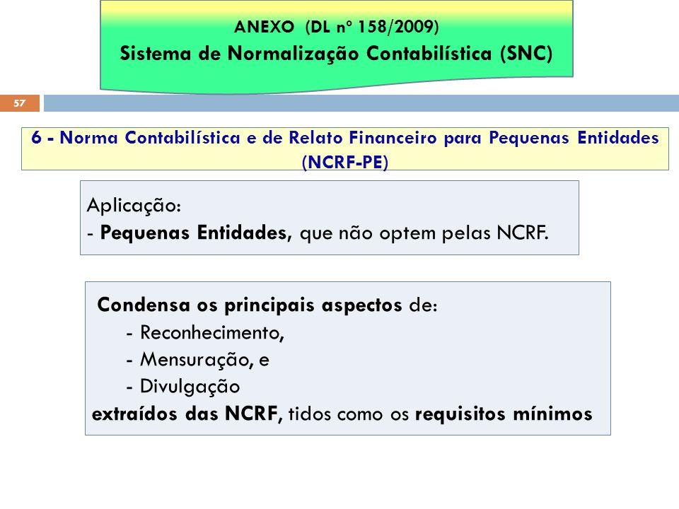 57 6 - Norma Contabilística e de Relato Financeiro para Pequenas Entidades (NCRF-PE) Aplicação: - Pequenas Entidades, que não optem pelas NCRF. Conden