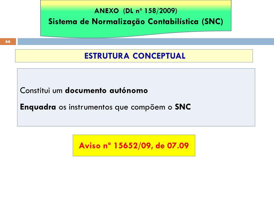 66 Constitui um documento autónomo Enquadra os instrumentos que compõem o SNC ESTRUTURA CONCEPTUAL ANEXO (DL nº 158/2009) Sistema de Normalização Cont