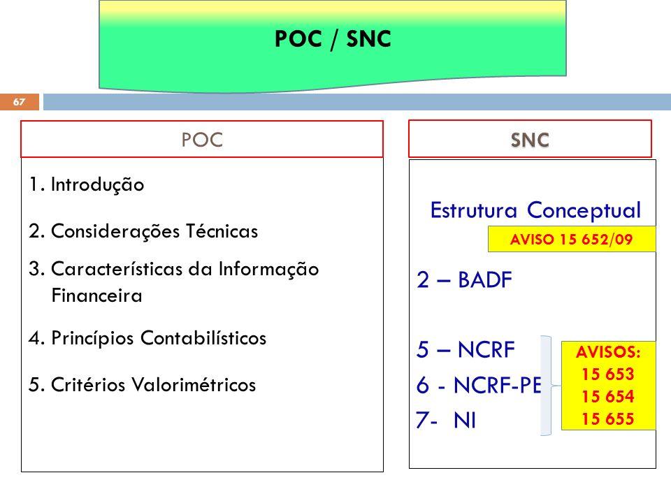 1. Introdução 2. Considerações Técnicas 3. Características da Informação Financeira 4. Princípios Contabilísticos 5. Critérios Valorimétricos POC 67 E