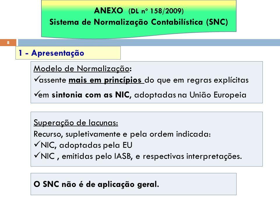 8 Modelo de Normalização: assente mais em princípios do que em regras explícitas em sintonia com as NIC, adoptadas na União Europeia 1 - Apresentação