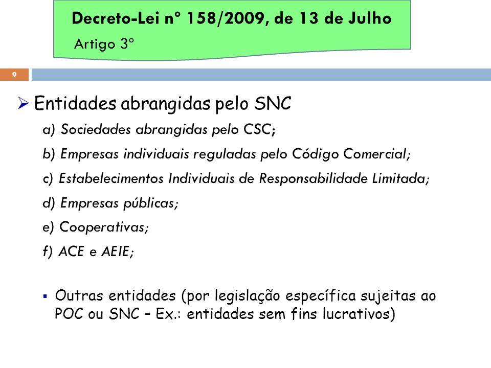 Entidades abrangidas pelo SNC a) Sociedades abrangidas pelo CSC; b) Empresas individuais reguladas pelo Código Comercial; c) Estabelecimentos Individu