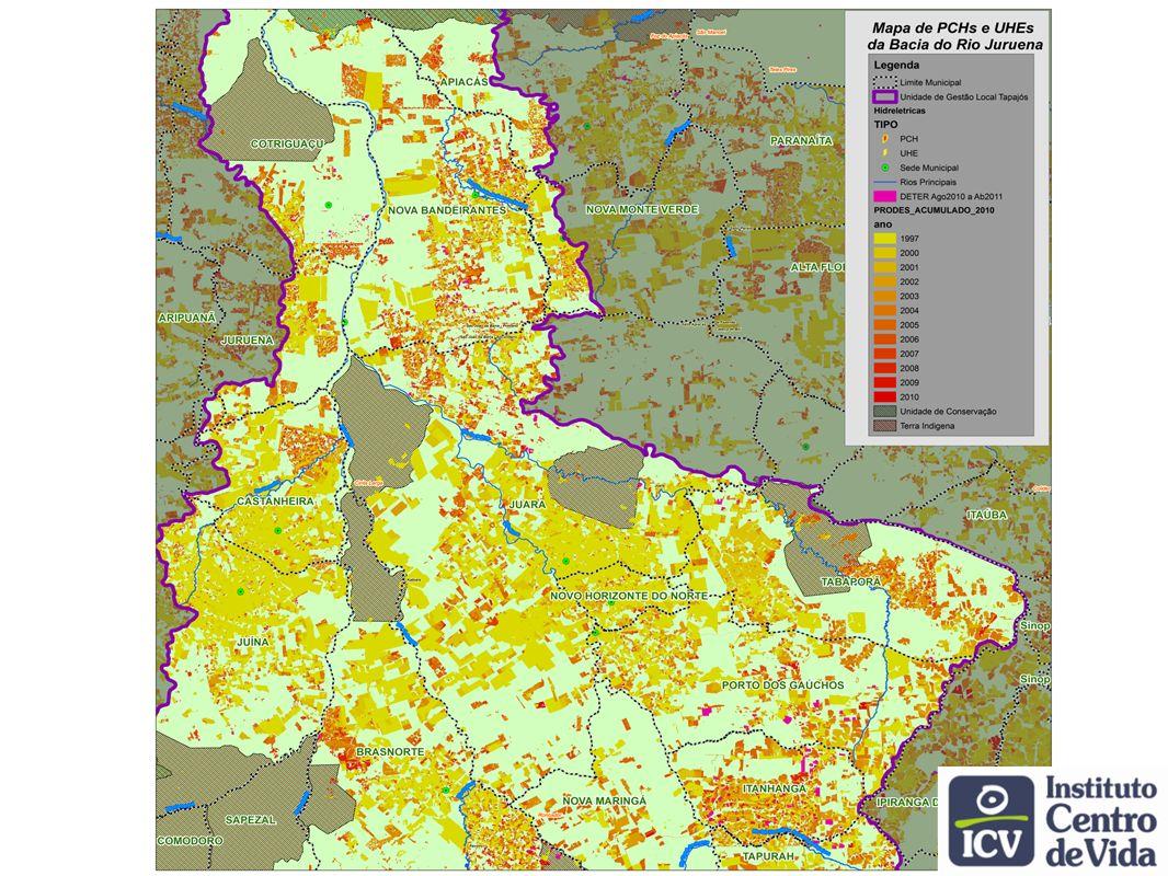 Desmatamento: 1,5 milhão de ha Potencial redução do desmatamento: 1 milhão de ha Cenários de desmatamento 2009-2018 (preliminar) Soares Filho, 2006 Business as usual