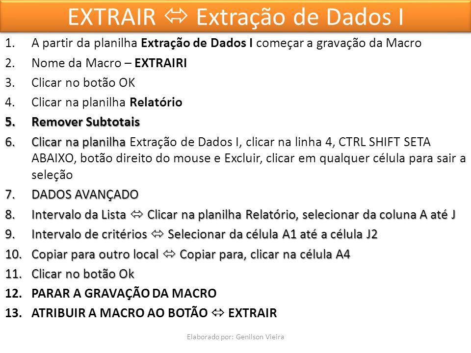 EXTRAIR Extração de Dados I 1.A partir da planilha Extração de Dados I começar a gravação da Macro 2.Nome da Macro – EXTRAIRI 3.Clicar no botão OK 4.Clicar na planilha Relatório 5.Remover Subtotais 6.Clicar na planilha 6.Clicar na planilha Extração de Dados I, clicar na linha 4, CTRL SHIFT SETA ABAIXO, botão direito do mouse e Excluir, clicar em qualquer célula para sair a seleção 7.DADOS AVANÇADO 8.Intervalo da Lista Clicar na planilha Relatório, selecionar da coluna A até J 9.Intervalo de critérios Selecionar da célula A1 até a célula J2 10.Copiar para outro local Copiar para, clicar na célula A4 11.Clicar no botão Ok 12.PARAR A GRAVAÇÃO DA MACRO 13.ATRIBUIR A MACRO AO BOTÃO EXTRAIR Elaborado por: Genilson Vieira
