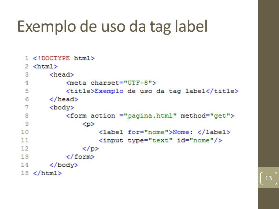 Exemplo de uso da tag label 13