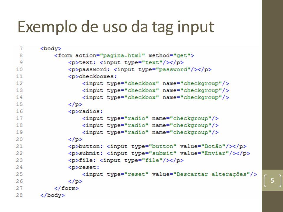 Exemplo de uso da tag input 5