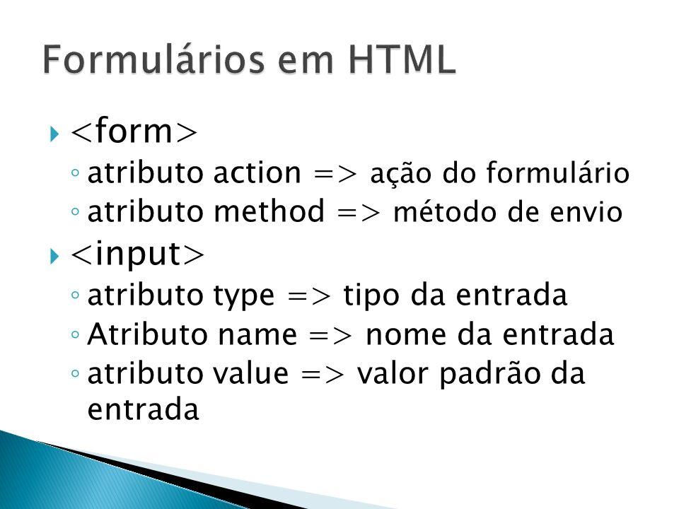 atributo action => ação do formulário atributo method => método de envio atributo type => tipo da entrada Atributo name => nome da entrada atributo value => valor padrão da entrada