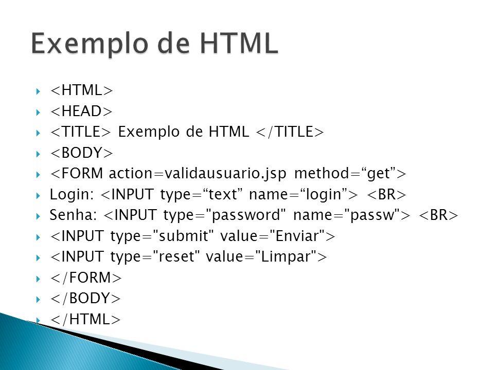 Exemplo de HTML Login: Senha: