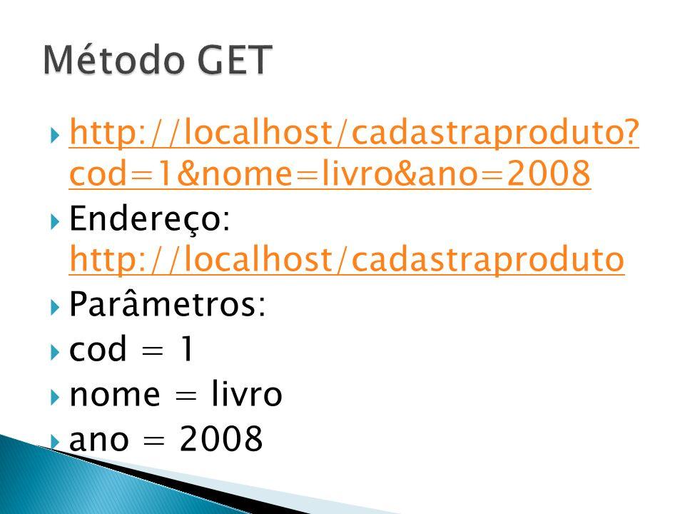 http://localhost/cadastraproduto.cod=1&nome=livro&ano=2008 http://localhost/cadastraproduto.