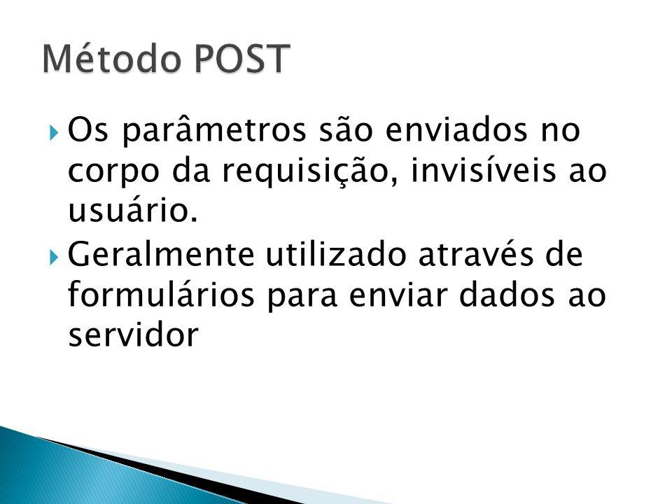 Os parâmetros são enviados no corpo da requisição, invisíveis ao usuário.