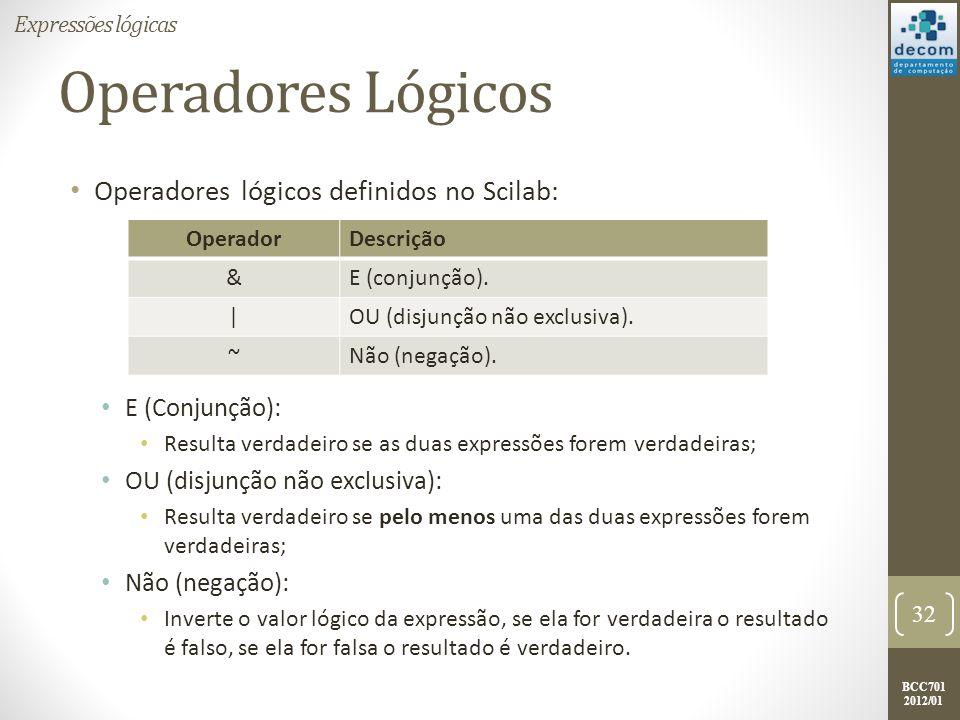BCC701 2012/01 Operadores Lógicos Operadores lógicos definidos no Scilab: E (Conjunção): Resulta verdadeiro se as duas expressões forem verdadeiras; O