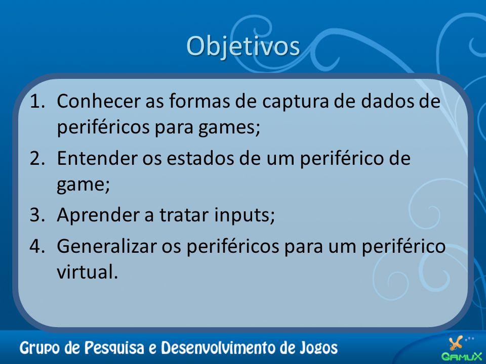 Objetivos 1.Conhecer as formas de captura de dados de periféricos para games; 2.Entender os estados de um periférico de game; 3.Aprender a tratar inpu