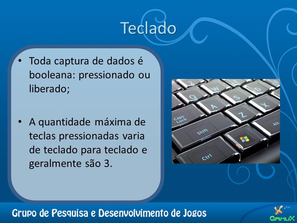 Teclado 14 Toda captura de dados é booleana: pressionado ou liberado; A quantidade máxima de teclas pressionadas varia de teclado para teclado e geral