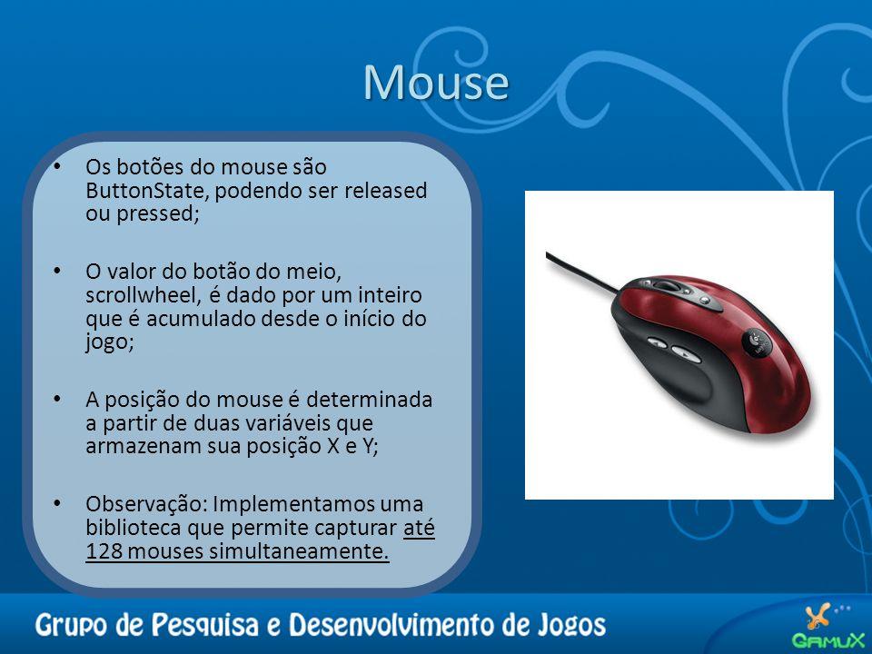 Mouse 16 Os botões do mouse são ButtonState, podendo ser released ou pressed; O valor do botão do meio, scrollwheel, é dado por um inteiro que é acumu