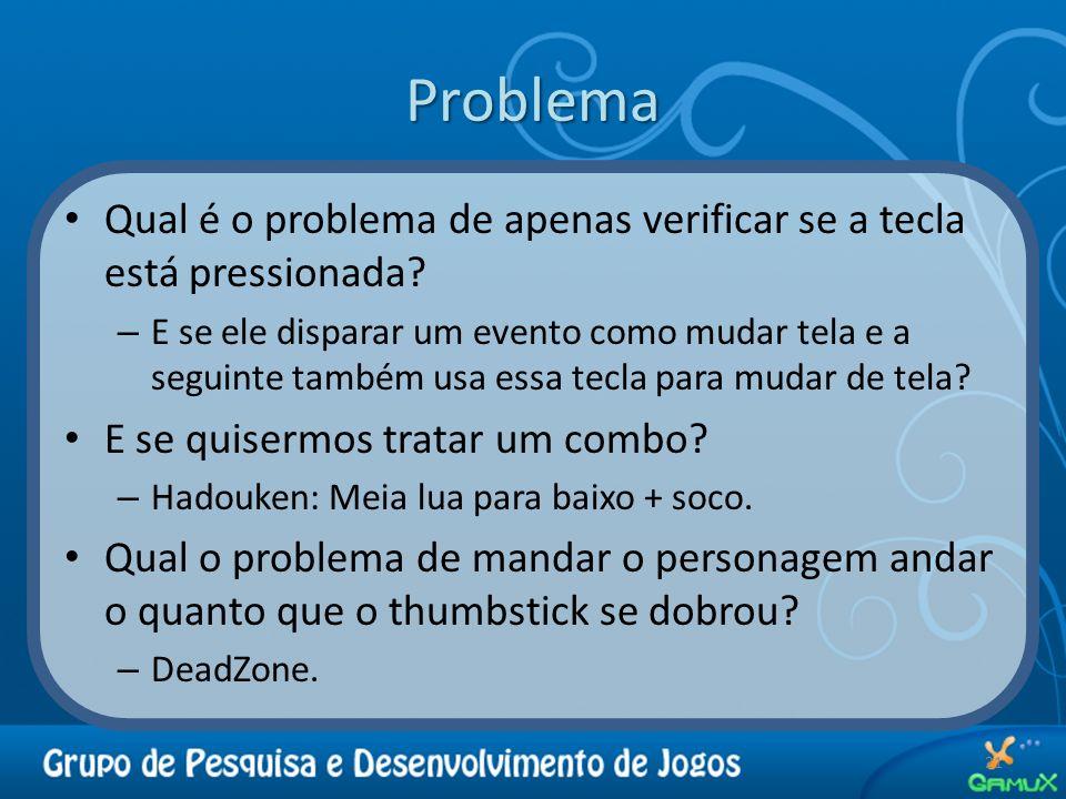 Problema 21 Qual é o problema de apenas verificar se a tecla está pressionada? – E se ele disparar um evento como mudar tela e a seguinte também usa e