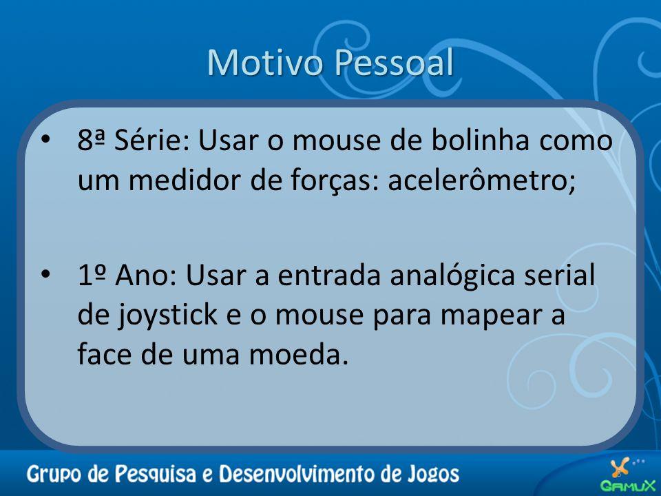 Motivo Pessoal 8ª Série: Usar o mouse de bolinha como um medidor de forças: acelerômetro; 1º Ano: Usar a entrada analógica serial de joystick e o mous