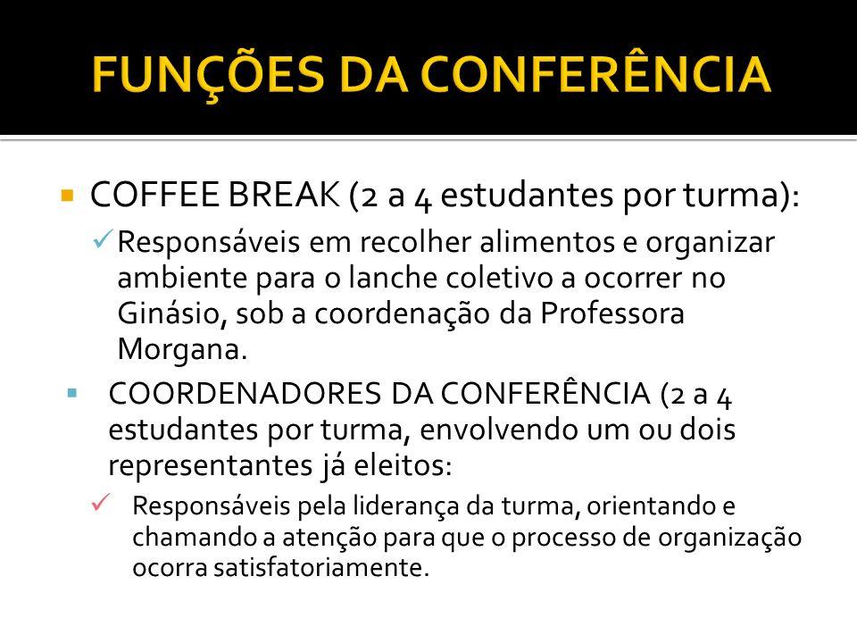 COFFEE BREAK (2 a 4 estudantes por turma): Responsáveis em recolher alimentos e organizar ambiente para o lanche coletivo a ocorrer no Ginásio, sob a coordenação da Professora Morgana.