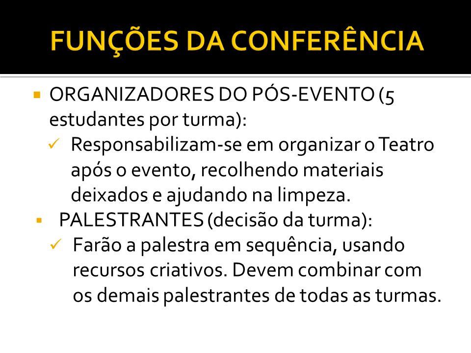 ORGANIZADORES DO PÓS-EVENTO (5 estudantes por turma): Responsabilizam-se em organizar o Teatro após o evento, recolhendo materiais deixados e ajudando na limpeza.