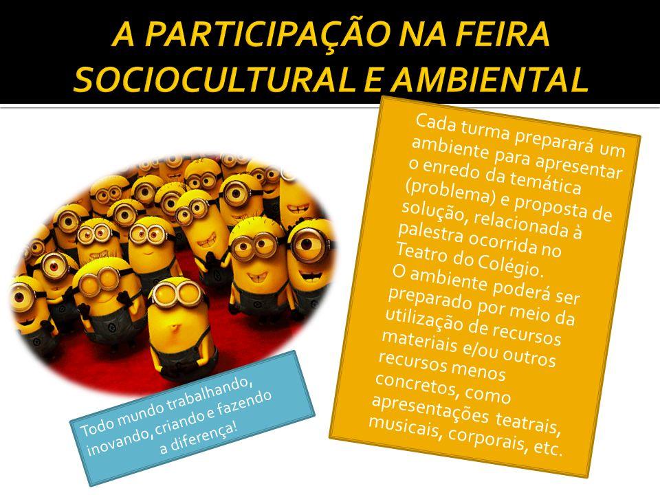 Cada turma preparará um ambiente para apresentar o enredo da temática (problema) e proposta de solução, relacionada à palestra ocorrida no Teatro do Colégio.