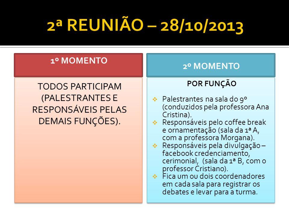 1º MOMENTO TODOS PARTICIPAM (PALESTRANTES E RESPONSÁVEIS PELAS DEMAIS FUNÇÕES).
